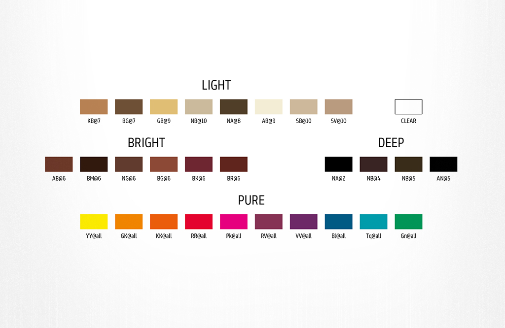 Goldwell Elumen värikartta. Light, pure, bright ja deep.
